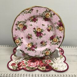 🌹rare 2002 Royal Albert Old Country Roses Dusky Pink Lace Salad Luncheon Plate