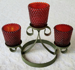 Vintage Wrought Iron And Hobnail Candelabra Scrollwork, Red Votive Candle Holders
