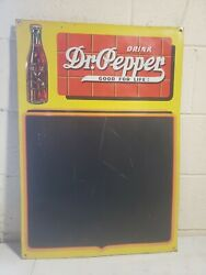 Rare 1930's Orig. Dr Pepper Embossed Advertising Chalkboard Sign Country Store