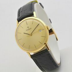 Tissot Date 60s 18 Carats Gold 1 11/32in Manual Winding Serviced