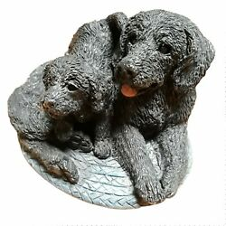 Black Lab Mom And Puppy Stone Critters Dog Figurine Vintage 1994 In Usa Country