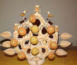 Vintage Mexican Pottery Tree Of Life Figurine Handmade 80s 3.5h New Old Stock