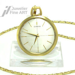 Pocket Watch Corum Open Face Hand Wound 383 Mm Diameter Yellow Gold With Chain