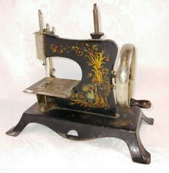 Antique Collectible 'casige' Childs Wood Handled Cast Iron Toy Sewing Machine