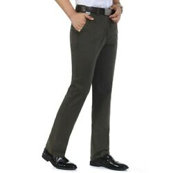 Menand039s Trousers High Waist Straight Pants Formal Dress Business Office Work Loose