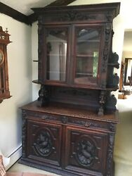 Antique French Oak Hunt Cabinet Griffin And Bird Carvings And Gargoyles
