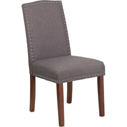 Hercules Hampton Hill Series Gray Fabric Parsons Chair With Silver Nail Heads