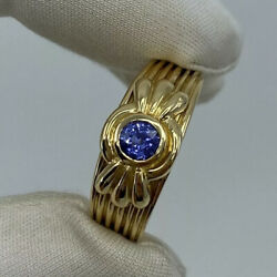 Rare Vintage And Fine Vivid Blue Sapphire 18k Yellow Gold Ring