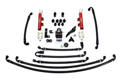 Iag Ptfe Flex Fuel System Kit W/ Lines Fpr And Red Fuel Rails For 08-14 Wrx
