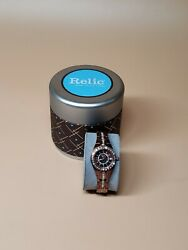 Relic By Fossil Bronze Brown Rhinestone Accented Analog Watch W Date L4z
