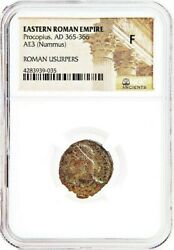 Ancient Roman Emperor Procopius Coin Ngc Certified Fine With Story