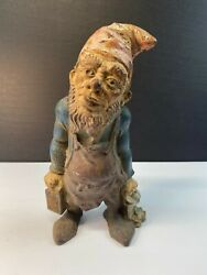 Antique Cast Iron Door Stop Bookend Gnome Keeper Of Keys With Lantern