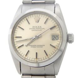 Vintage Rolex Datejust 6824 Midsize Steel Watch Oyster Rivet Band Silver Dial
