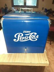 Vintage Pepsi Cola Original Blue Picnic Cooler Ice Chest With Tray