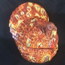 1980's Fall Thanksgiving Turkey Glazed Ceramic Candy Dish Container Trinket Box