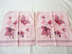 2 Vintage 1970's Cannon Washcloths Pink Butterfly Print