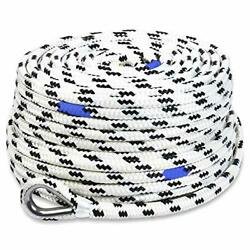 200and039x3/8 Marine Anchor Line/rope W/stainless Steel Thimble And Depth Markers B...