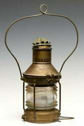 Antique Brass Lantern Tagged Cunard Lines 20th-century Solid Brass Ship's Lamp