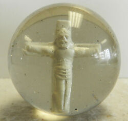 12672m Very Rare Large German Jesus On Cross Or Crucifix Sulphide Sulfide Marble