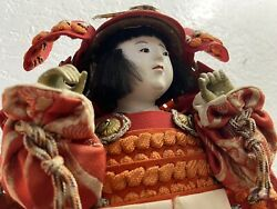 Japanese Antique Vintage Samurai Doll With Sword Circa World War Two - Very Nice