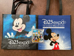Disney D23 Expo Reusable Tote Bags And Mickey Mouse And Friends Bag Clip Sealed.