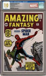 Marvel - Amazing Fantasy 15 - Silver Foil - Cgc 10 Gem Mint First Releases 285