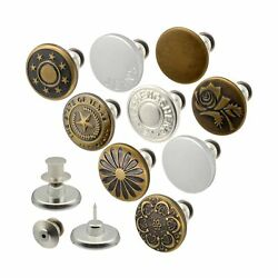 9 Pieces 17mm Adjustable Instant Buttons Pins Replacement Removable for Jeans No