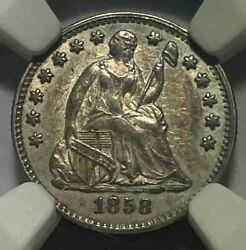1858 Seated Liberty Half Dime Ngc Au58 Closely Uncirculated