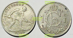 Luxembourg 1 Franc 1946-1947 Iron Worker Large Type 23mm Co-ni Coin Km46.1