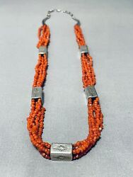 One Of The Best Vintage Navajo Coral Sterling Silver Box Necklace
