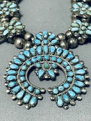 Early Rare Vintage Zuni Turquoise Sterling Silver Squahs Blossom Necklace