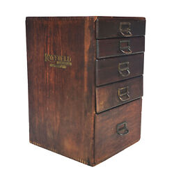 Antique Arts And Crafts Quartersawn Oak File Cabinet W/ Rayfield Advertising