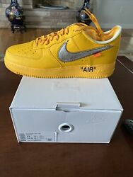 """Nike Air Force 1 Low Off White University Gold Lemonade """"ica"""" - Size 13"""