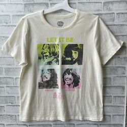 Preowned Womens The Beatles Let It Be Tshirt Xxl Ivory
