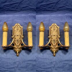 Heavy Pair Quality Rare Antique Sconces Mica Inserts Rewired Nice 97f