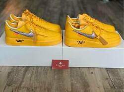 Nike Air Force 1 Low Off-white University Gold Metallic Silver Size 9.5 And 10.5