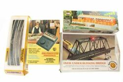 Vintage Toy Railroad Bachmann Bridge Track Rail Power Pack And Building In Boxes