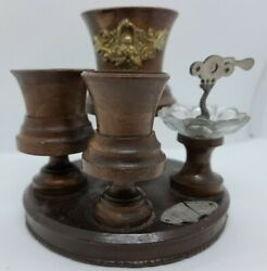 Antique Victorian Walnut Wood Table Top Tobacco Smoking Stand With Cigar Cutter