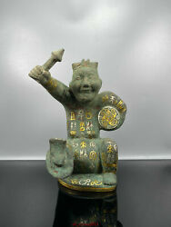 10.2 Antique Old China Han Dynasty Bronze Drummer Statue Asian Collections