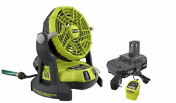Ryobi 18-volt One+ Portable Bucket Top Misting Fan Kit With Battery