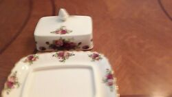 Royal Albert Old Country Roses Covered Butter Dish Made In England