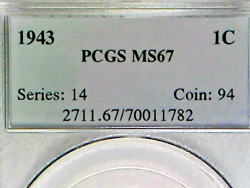 Reduced Beautiful Lot All Three 1943 Steel Cents In Pcgs Ms67