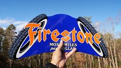 Old Style Firestone Tire Most Miles Per Dollar Dicut Thick Steel Sign Usa Made