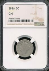 1886 Liberty Head V Nickel Ngc G 4 One Of The Key Dates In The Set