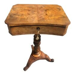 Antique English 1840s Sewing Side Table Mahogany Interior , Walnut And Flip Top