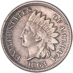 1863 Indian Head Cent About Uncirculated Penny Au See Pics J283