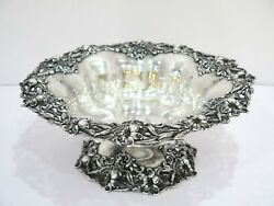 10 7/8 In Sterling Silver Redlich And Co. Antique Lily Flower Footed Serving Bowl