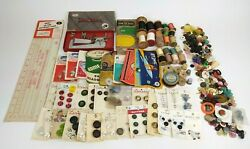 Vintage Sewing Lot - Thread Buttons Needles / Stitch Master Sew Easy Tool Ruler