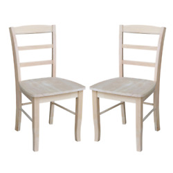 Set Of 2 Traditional Dining Chairs Ladder Back Solid Wood Side Seat Unfinished