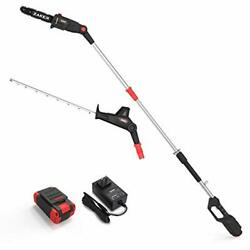 40v 21.3 Pole Hedge Trimmer Cordless With 9.5 Inch Chain Saw Attachment,